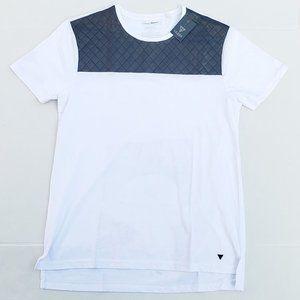 New Men's GUESS Paneled White Shirt sz Large